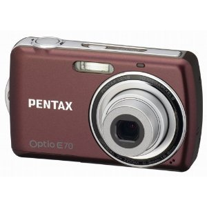 Pentax Optio E70 Wine Red Digital Camera  10MP  3x Opt  SDHC Card Slot
