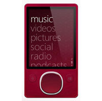 Microsoft Zune 80GB MP4 MP3 Player Red and Microsoft Zune H9A-00001 Car Pack v2 and Leather Case Bun