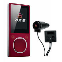 Microsoft Zune 4GB MP4 MP3 Player Red and Microsoft Zune H9A-00001 Car Pack v2 and Leather Case Bund