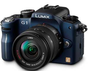 Panasonic Lumix DMC-G1 Blue SLR Digital Camera Kit W 14-45mm Lens  12 1MP  SD SDHC Card Slot
