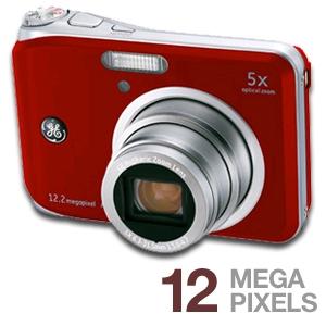 GE A1250 Digital Camera  12 2MP  5x Optical Zoom  Red