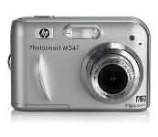 HP  Hewlett-Packard  Photosmart M547 Silver Digital Camera  6 2MP  2848x2136  3x Opt  16MB Internal Memory  SD SDHC Card Slot