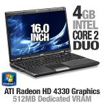 MSI A6005-201US Notebook PC - Intel Core 2 Duo T6600 2 2GHz 4GB DDR2 320GB HDD DVDRW 16 Display Wind