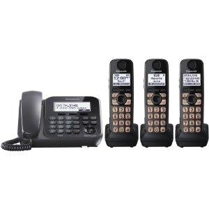 Panasonic KX-TG4773B 3-Handset 1-Line Landline Telephone